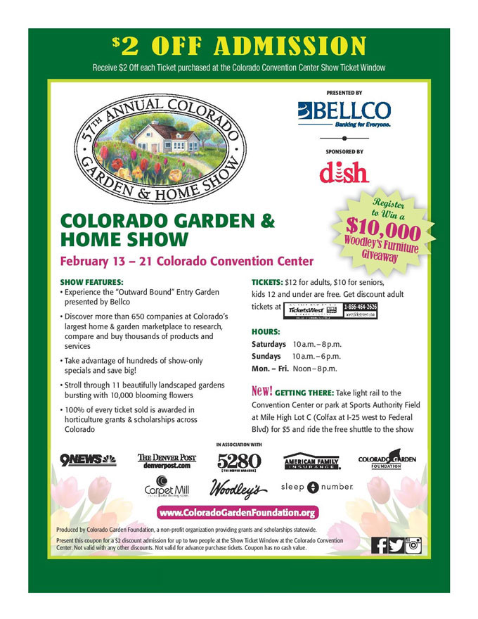 Colorado 39 s 2016 home garden show coupon national home improvement Colorado home and garden show